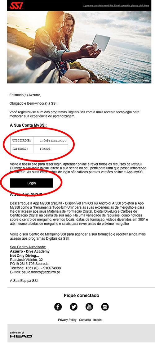 E-mail Registo MySSI